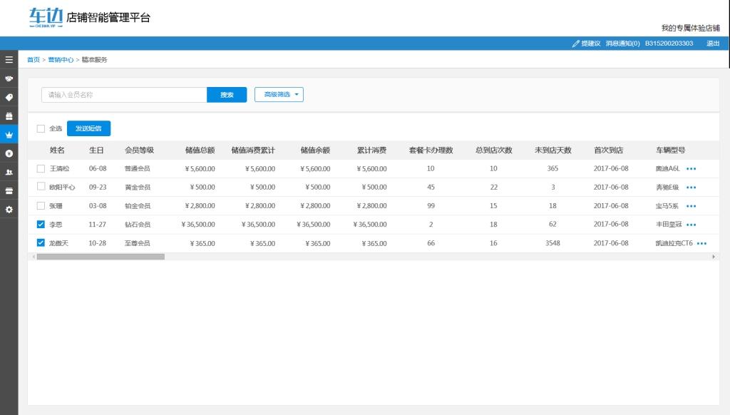 后台销售统计管理页