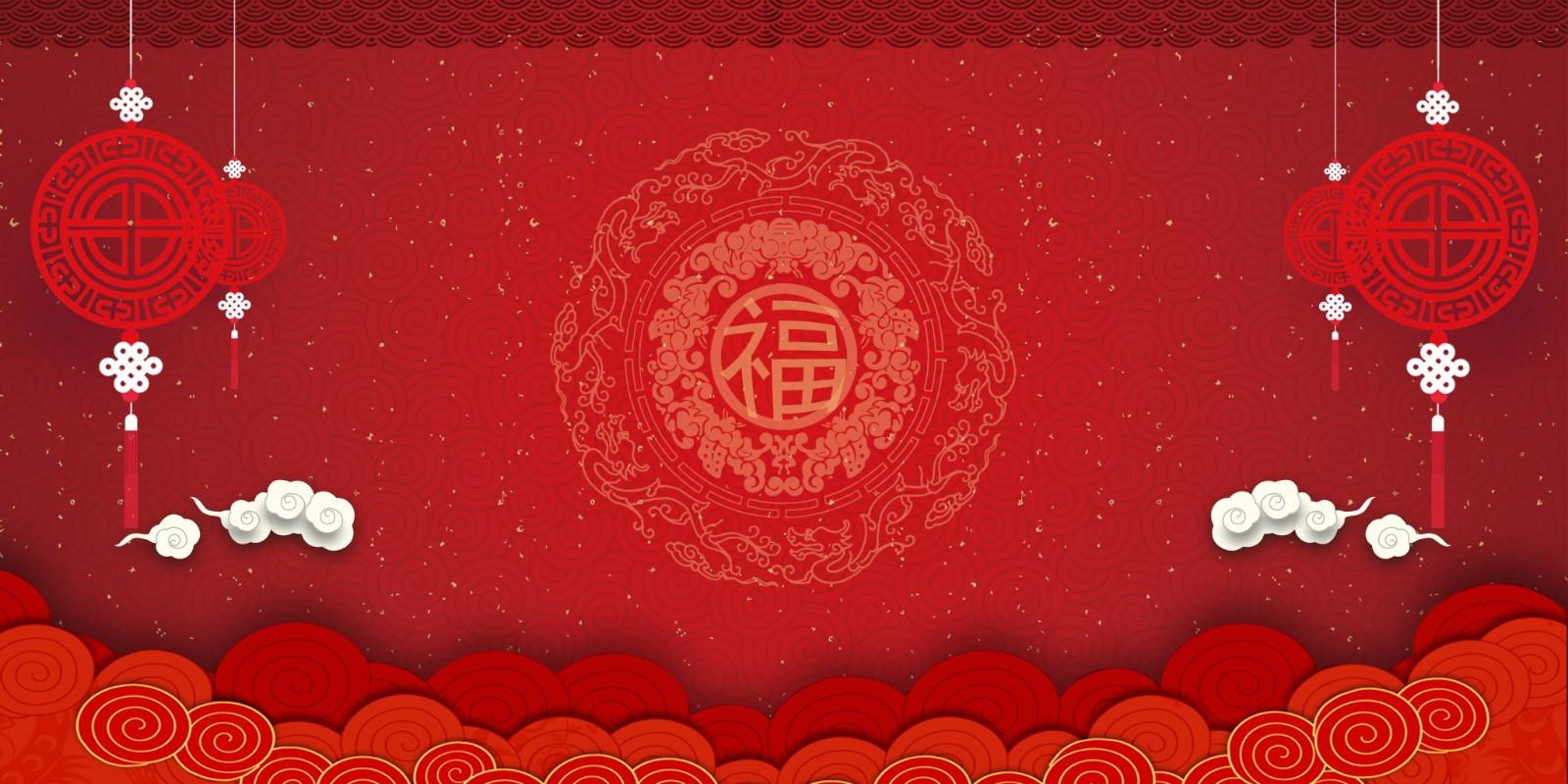 中国风红色灯笼烟花背景素材