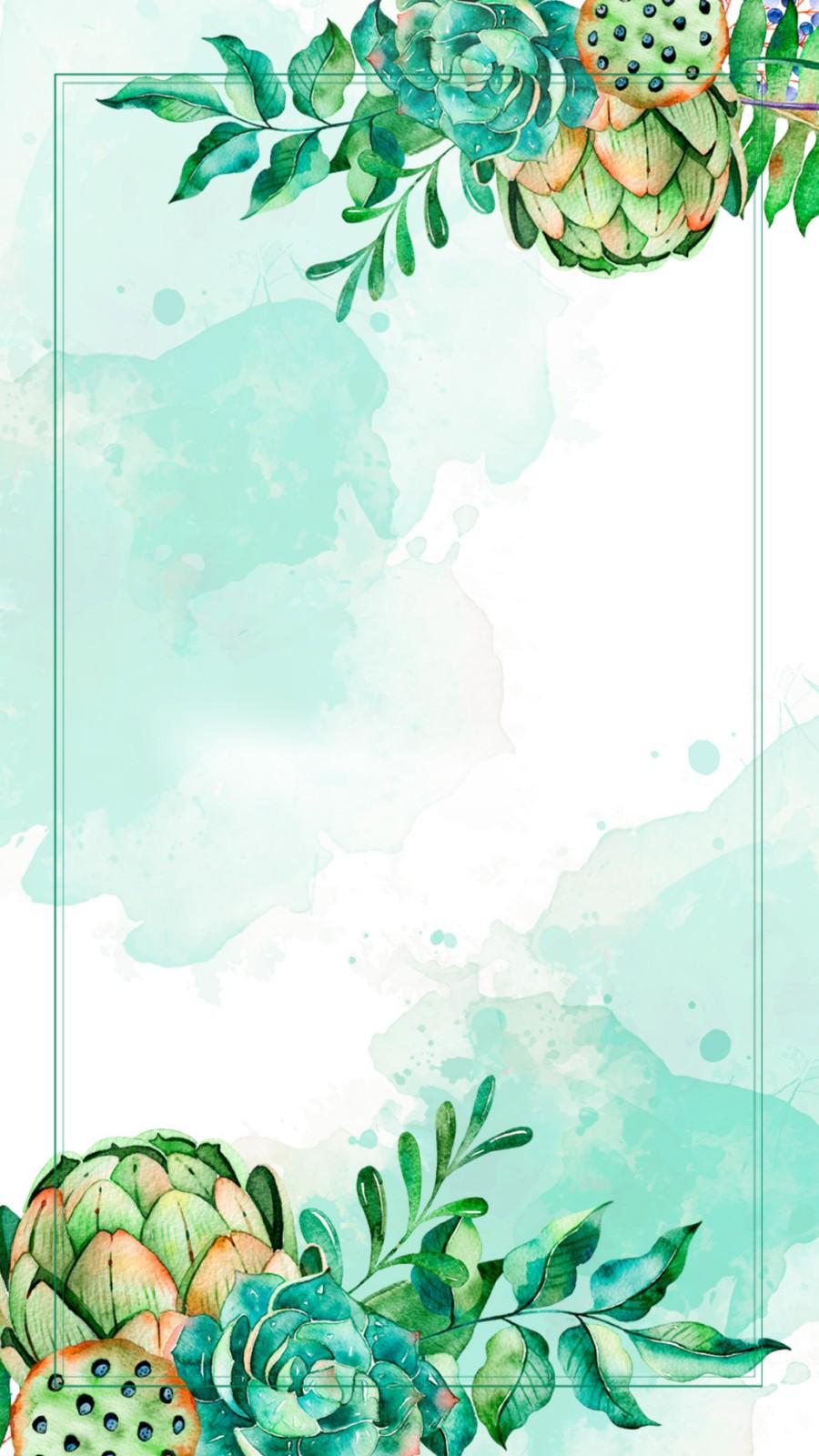 中国风水彩 清新植物春天绿色背景