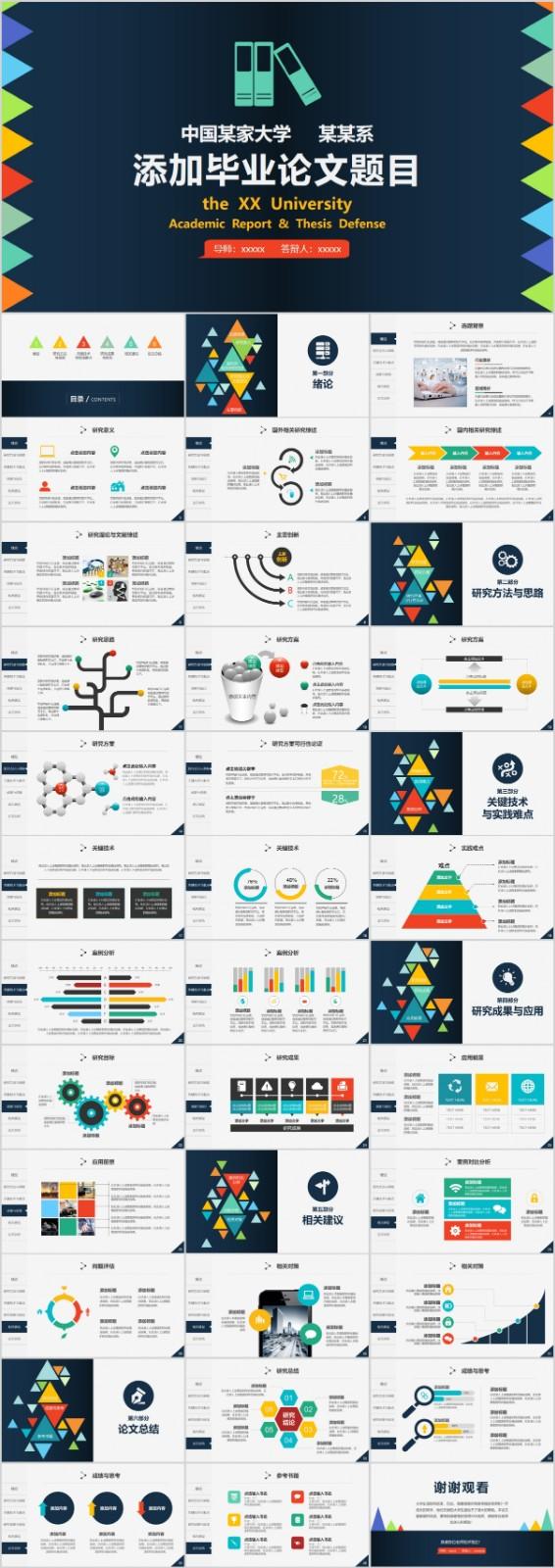数码风格蓝色背景毕业设计论文答辩PPT模板